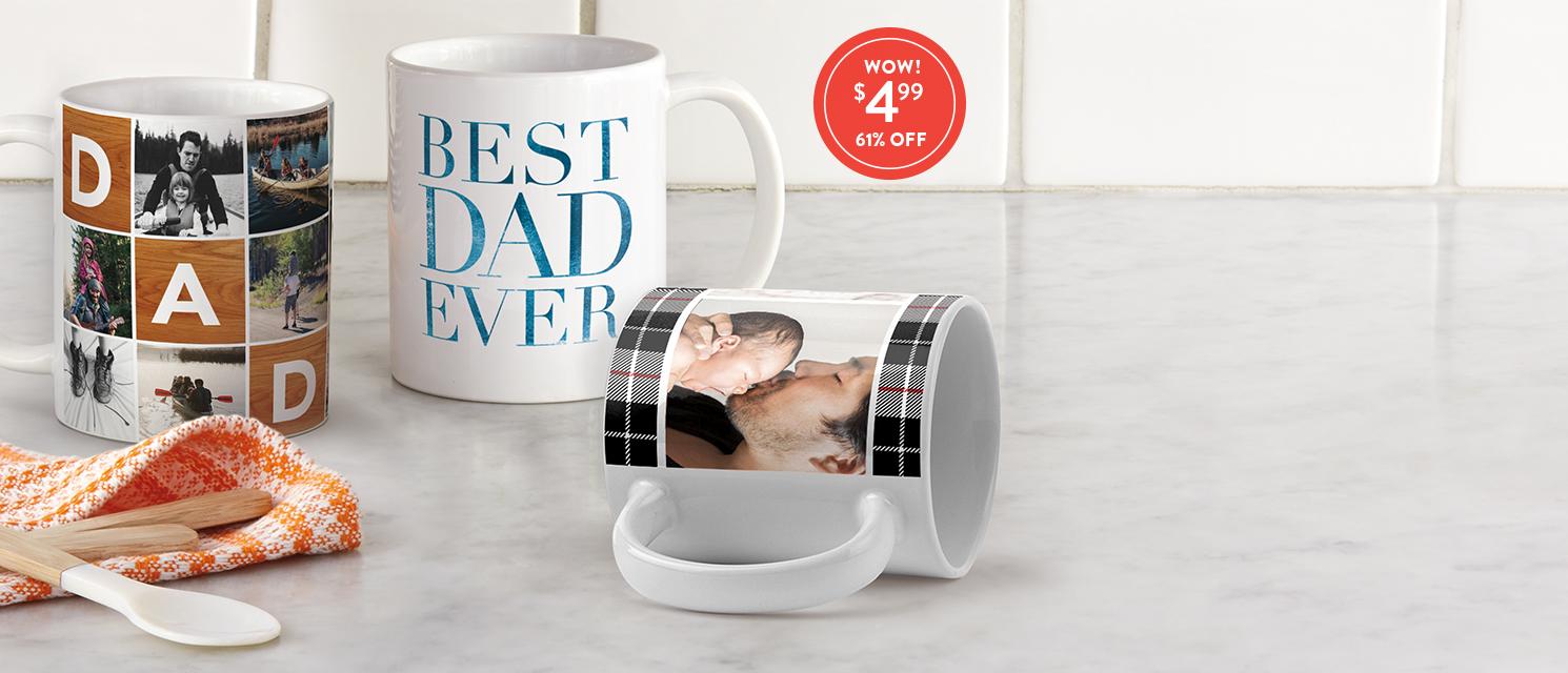 Make Dad something he'll love a latte : Get great savings on 11 oz. mugs with 499MUGS
